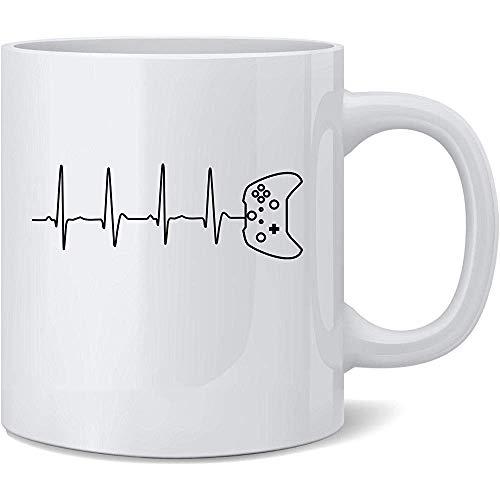 Gamer Heartbeat XB Video Game Controller Regalo Taza de café de cerámica Regalo divertido de la novedad