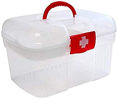 Wishbone Clear White Plastic Double Layers Health Care First Aid Medicine Storage Box Case Holder
