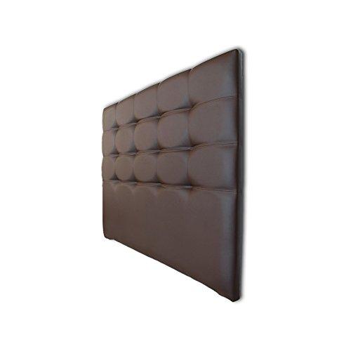 Ventadecolchones - Cabecero Tapizado Acolchado de Dormitorio en Polipiel Modelo Tablet Largo, Wengué y Medidas 151 x 125 cm para Camas de 135 ó 150