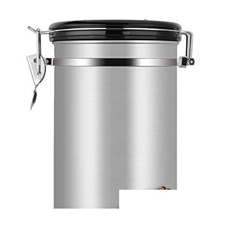 Botella Recipiente de café grande de acero inoxidable de acero inoxidable de acero inoxidable recipiente bote negro Cocina Sotrage latas de recipiente para té de café Almacenamiento ( Color : White )