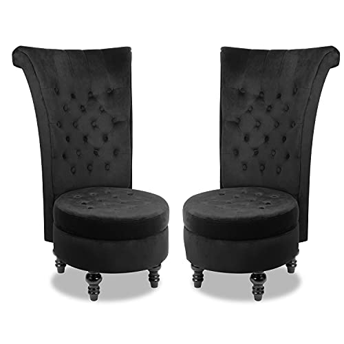MU 2-Pack Dutch Velvet High Back Armless Chair, Retro Elegant Throne Chair, Upholstered Tufted Accent Seat with Storage for Living Room, Bedroom, Black