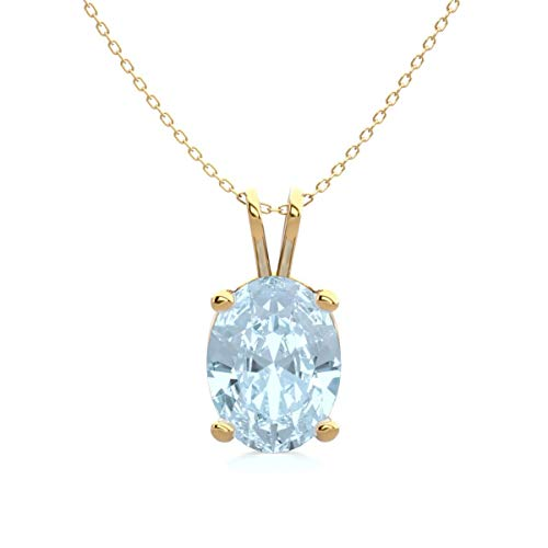 Aquamarine Necklace For Women In Sterling Silver, Yellow Gold Over Sterling Silver and Rose Gold Over Sterling Silver, 1 Carat