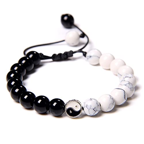Yinyang Bracelets TAIJI Charm Men Howlite Black Onyx Agat Stone Bead Bracelet Handmade Woven Jewelry Balance Energy Women Bangle