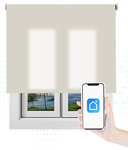 EB ESTORES BARATOS Smart Roll Wi-Fi Transúcido/Estor Enrollable Inteligente/Programación Horaria/Alexa/Google Home/RF/Color: Arena. Medidas: 40cm x 80cm