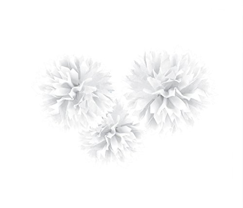 amscan Sweet and Stylish Hanging Fluffy Balls Party Decoration, White, Paper, 16\