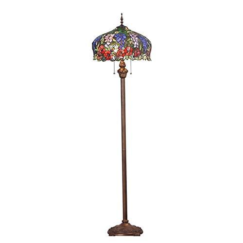 ACwhisper Lámpara de pie Sala Estudio Dormitorio Tiffany Retro Arte Europeo Cálido Ahorro de Energía Creativo Lámpara de Pie de Vidrio