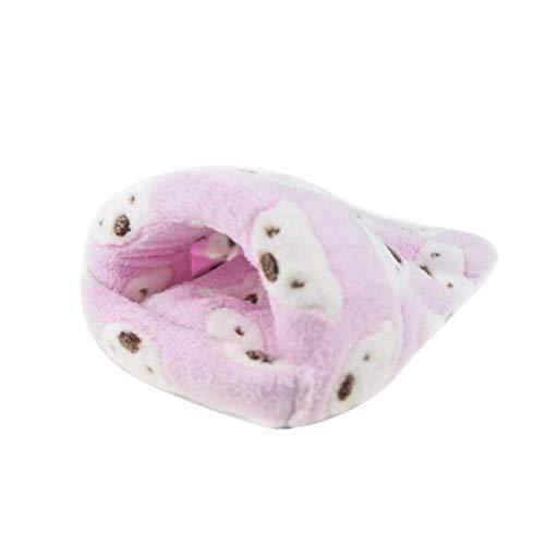 POPETPOP- Ratte Hamster Haus Bett Winter warme Fleece Kleine Haustier Eichhörnchen Igel Chinchilla Kaninchen Meerschweinchen Bett Haus Käfig Nest Hamster Zubehör - Größe Mitte (Pink)