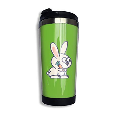 Cartoon Kaninchen Kaffee Reisebecher Auto Becher Becher Edelstahl Wasserflasche Isolierter Thermobecher Edelstahl für Arbeit & Reisen, 304 Edelstahl + lebensmittelechtes ABS, Schwarz , Einheitsgröße