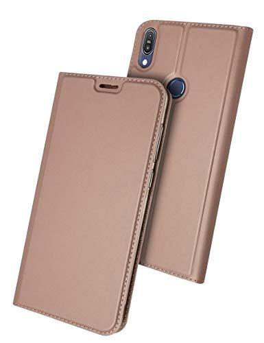 ZenFone Max M2 手帳型 ケース Asus ZenfoneMax ZB633KL 対応 uovon スタンド機能付き 高級 PUレザー 軽量 薄型 カード収納あり 全面保護カバー・ローズゴールド