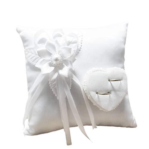 Amosfun 1 stück Hochzeit Ringkissen Romantische Stilvolle Weiße Quadratische Blume Dekor Herzförmigen Ring Halter Kissen Hochzeit Liefert