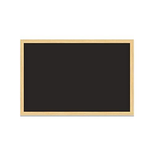MP - Pizarra Negra de Tiza con Marco de Madera Natural - 90x60 cm