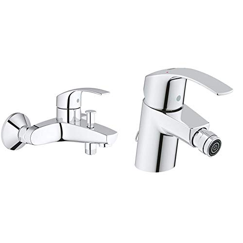 Grohe Eurosmart Grifo para baño y ducha, inversor automático, tecnología SilkMove (Ref. 33300002) + Eurosmart de bidé con cadena retráctil 1/2%22