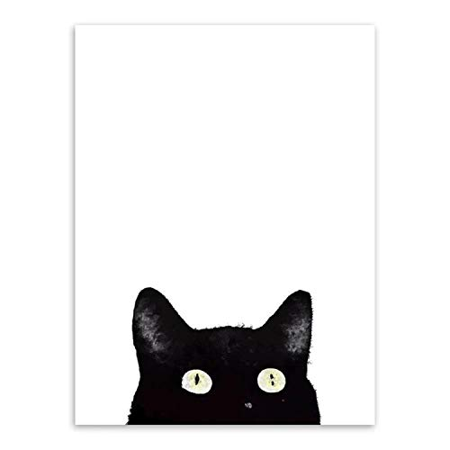 Canvas Prints Painting Nordic Style Lovely Black White Cats Posters Wall Art Animals Modular Pictures for Living Room Home Decor,10x15cm No Frame,ZZ10689-13