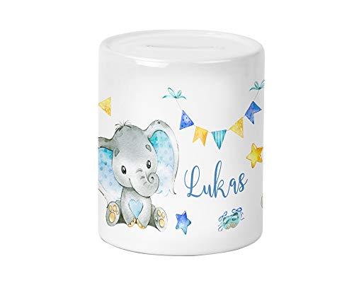 Yuweli Baby Boy Elefant Kinder-Spardose für Jungen mit Namen personalisiert zur Einschulung Taufe Geburtstag Geburt Sparschwein Geldgeschenk