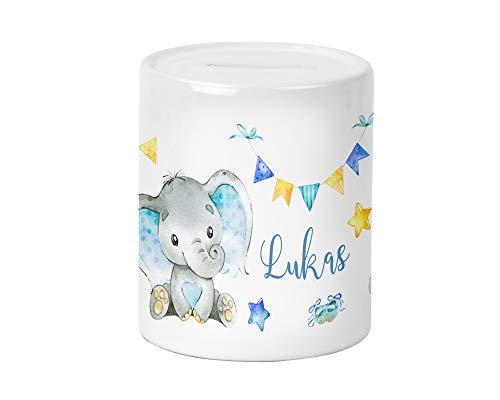 Yuweli Baby Boy Elefant Spardose für Kinder Jungen und Mädchen mit Namen personalisiert zur Einschulung Taufe Geburtstag Geburt Sparschwein Geldgeschenk Kinderspardose