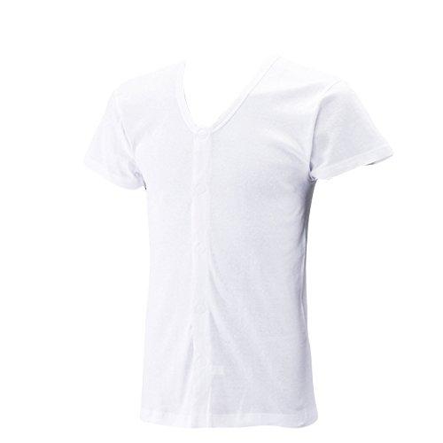 ワンタッチ肌着 マジックテープ式 綿100% メンズ 半袖 前開きシャツ 2枚組 白 M 436504