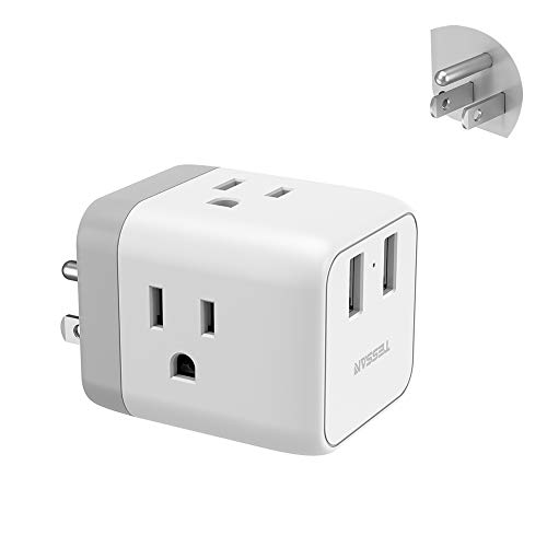 Multi Plug Outlet Extender with USB Charger, Travel Charging Cube Power Wall Outlet Expander for Cruise Essentials, Multiple Outlet Plug Splitter for Home, Dorm, Office
