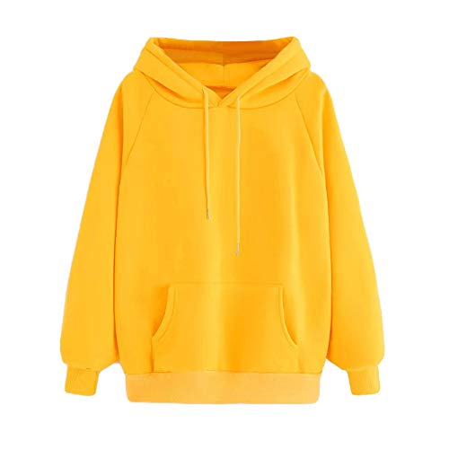 Womens Girls Long Sleeve Hoodie Yellow Hooded Sweatshirt Pullover Tops Blouse with Pocket(Yellow L)