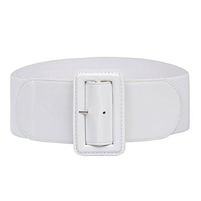 Ladies High Stretchy Waist Wide Patent Fashion Plain Leather Belt White M