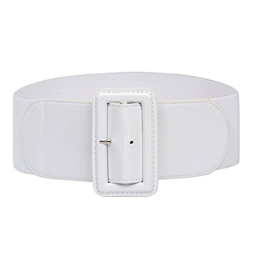 Ladies High Stretchy Waist Wide Patent Fashion Plain Leather Belt ,White,Small