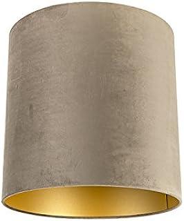 QAZQA Algodón Pantalla terciopelo visón/oro 40/40/40, Redonda/Cilíndrica Pantalla lámpara colgante,Pantalla lámpara de pie