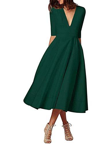 carinacoco Donna Vestiti Lunghi da Matrimonio Elegante Collo V Vestito A Pieghe Skater Abito Maxi Damigella Sera Cerimonia Inverno (XL/IT46-48, Verde)