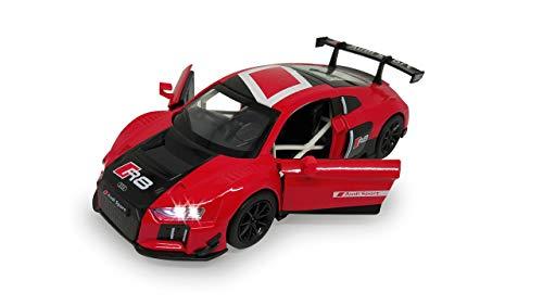 Jamara 405204 Street Kings Audi R8 LMS 1:32 Diecast rot – Rückzugmotor, Scheinwerfer/Rücklichter, realistischer Sound, Türen öffnen, detailgetreues Design