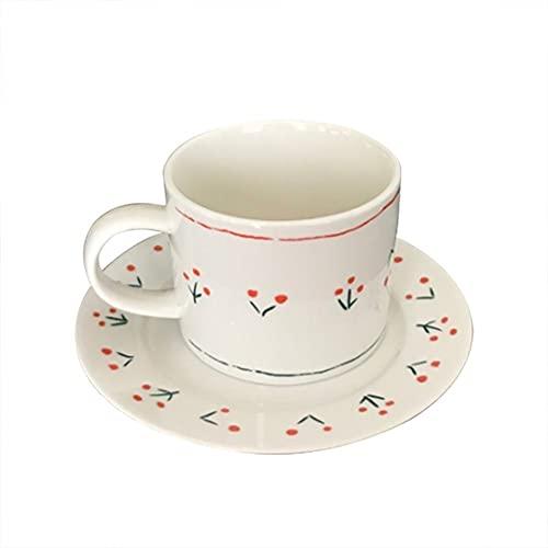 XDYNJYNL Taza y platillo de la Porcelana de Estilo Europeo, 10 oz / 300ml Tazas de café Liso de 10 oz / 300ml Tazas de té tazte Tazas de Beber tumblers de Beber Tazas de Smoothie Taza de Desayuno con