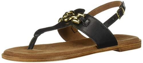 Bella Vita Women's Lin-Italy Thong Sandal Shoe, Black Italian Leather, 6 M US