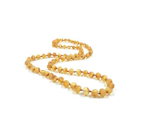 Collar de ámbar báltico auténtico hecho de perlas de ámbar natural sin pulido, 46 cm (crudo)