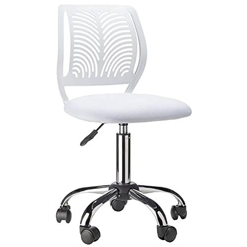 Flamingo Casa - Silla de oficina giratoria - Silla ergonómica de escritorio con respaldo de malla regulable en altura - Asiento acolchado - Color blanco