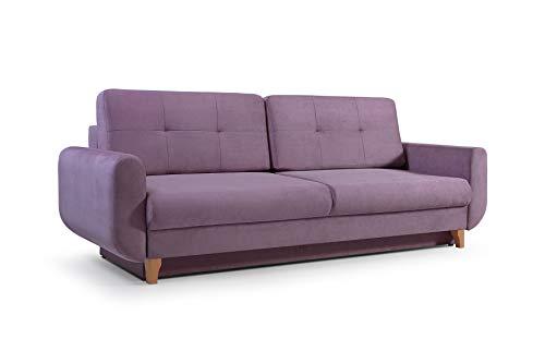 mb-moebel Modernes Sofa Schlafsofa Kippsofa mit Schlaffunktion Klappsofa Bettfunktion mit Bettkasten Couchgarnitur Couch Sofagarnitur 3er Saphir (Lavendel)