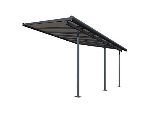 Palram Capri Pergola Adossée Aluminium Et Polycarbonate 3x4, pour Couvrir Une Terrasse Toute L'année – Garantie 7 Ans (12.5m², Gris Bronze)