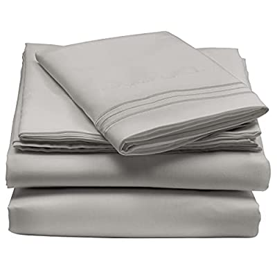 mDesign Twin XL Size Superfine Brushed Microfiber Sheet Set - 3 Pieces - Extra Soft Bed Sheets and Pillowcase - Easy Fit Deep Pockets - Wrinkle Resistant, Comfortable, & Breathable - Gray