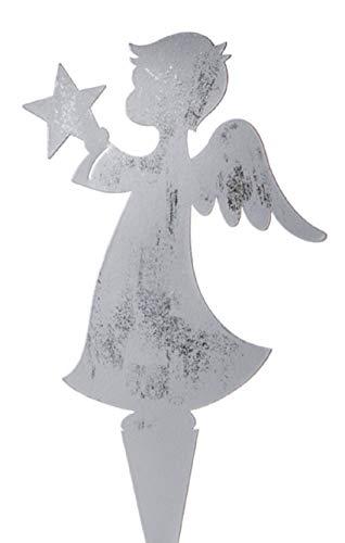 Dio dekorativer Deko-Stecker Garten-Stecker Pick Engel mit Stern Metall silberfarbig