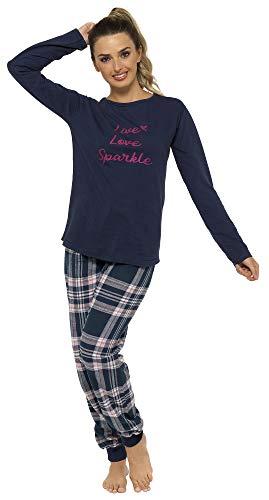 Damen Pyjama-Set, Flanell, mit Tragetasche, Pink / Marineblau Gr. Small,...