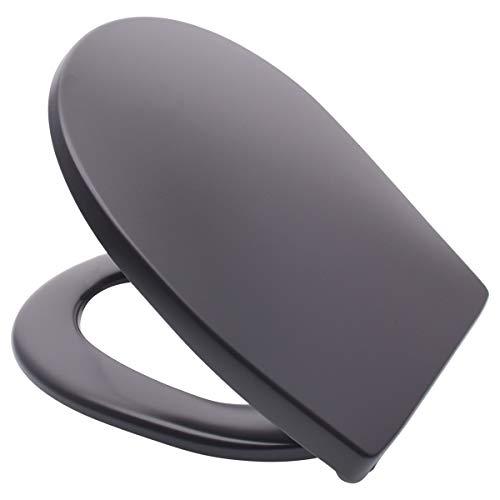 LUVETT WC-Sitz C100 oval mit Absenkautomatik SoftClose® & TakeOff® EasyClean Abnahme, Duroplast Toilettendeckel, Farbe:Matt Schwarz