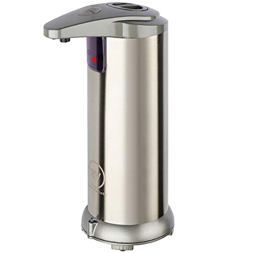 Automatic Soap Dispenser – Touchless Soap Dispenser with Infrared Motion Sensor – No Touch Soap Dispenser with Waterproof Base – Ultra-Elegant Stainless Steel Design – Battery Operated Ultra-Quiet