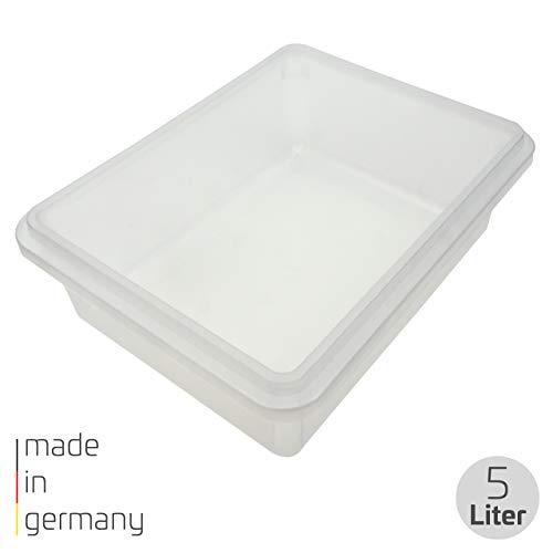 proventa® Frischhalteschale Made in Germany, BPA-frei und lebensmittelecht, 5 Liter, transparent, mit transparentem Deckel, stapelbar, für Gewerbe und Privat