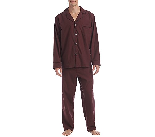 Hanes Men's Cotton and Polyester Solid 2-Piece Woven Pajama Set Burgundy 2XL
