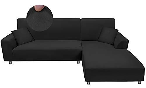 Taiyang Funda para Sofà Seccional, Fundas para Sofa Chaise Longue, Funda de sofá en Forma de L de Tela Elástica y Cómoda con 2 Fundas de Almohada ( 3 Asientos + 3 Asientos, Negro)