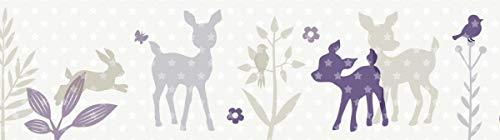 lovely label Bordüre selbstklebend HÄSCHEN und REHE LILA/GRAU/BEIGE - Wandbordüre Kinderzimmer/Babyzimmer mit Hase und Reh - Wandtattoo Schlafzimmer Mädchen und Junge – Wanddeko Baby/Kinder