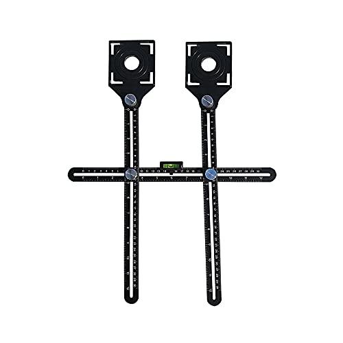 Swetup Multi-angle Winkelmesser Lineal, Angleizer Template Tool aus Premium Aluminium-Legierung Material mit Zwei Loch Locator, Winkelmesswerkzeug für Tischler Fliesenleger Pflastern Loch