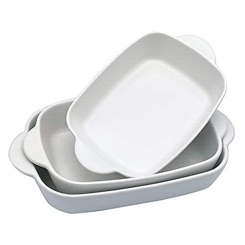 Ceramic Baking Dish Set of 3, Casserole Dishes with Handles, Rectangular Porcelain Bakeware Set Nonstick, Stackable Lasagna Pan for Oven Cooking Banquet Daily Use, Ivory
