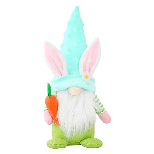 ABOOFAN Conejo de Pascua Decoración de Los Gnomos de Peluche con Zanahoria Pascua Hogar Decoración Elfo Conejo Gnomo Muñeca Decorativa Decoración para El Hogar (Verde)