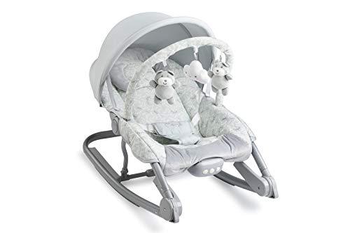 MOMI EBES Babywippe für Babys, weiche Polsterung, Metallrahmen, Antirutsch-Füßchen, Haltegurt | Gewicht 3,84 kg, Abmessungen 80 x 54 x 40 cm | Sensorisches Modul für kreative Kinderförderung | Leaves