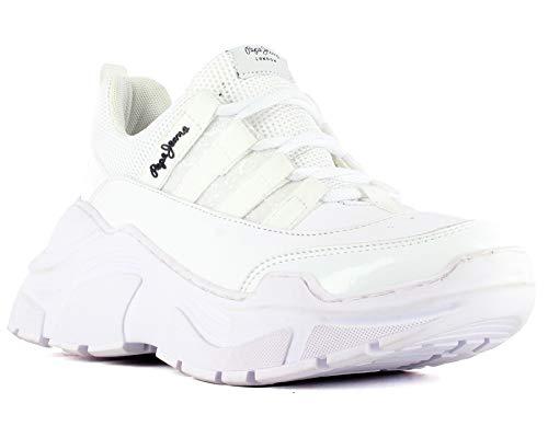 Pepe Jeans Dama/Kate/Blanco Zapatos de Estar en casa para Mujer, Color Blanco, 22