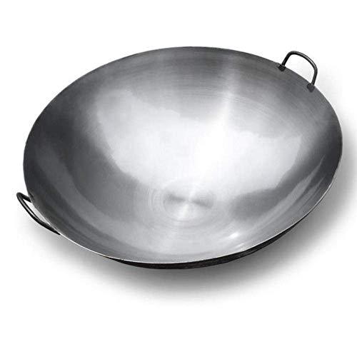XHNXHN Handgemachte Eisenpfanne Chef Special Large Wok Home Binaural Big Iron Pot Vintage Traditionelle Extra große gekochte Eisentopf Werbung, 36 cm, 36 cm