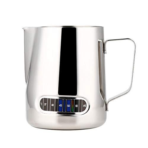 Extaum Jarra para vaporizar café expreso Jarra para Espuma de Leche expreso de Acero Inoxidable con termómetro Taza para Espuma de café y Leche Jarra para Barista de 600 ml