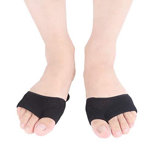 Healifty 1Paar Vorfuß Socken Zehensocken unsichtbare unsichtbare Fünf zehen Socken für Ball Fuß Protektoren Schmerzlinderung (Schwarz)